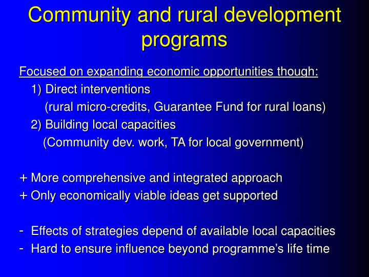 Community and rural development