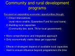 community and rural development programs