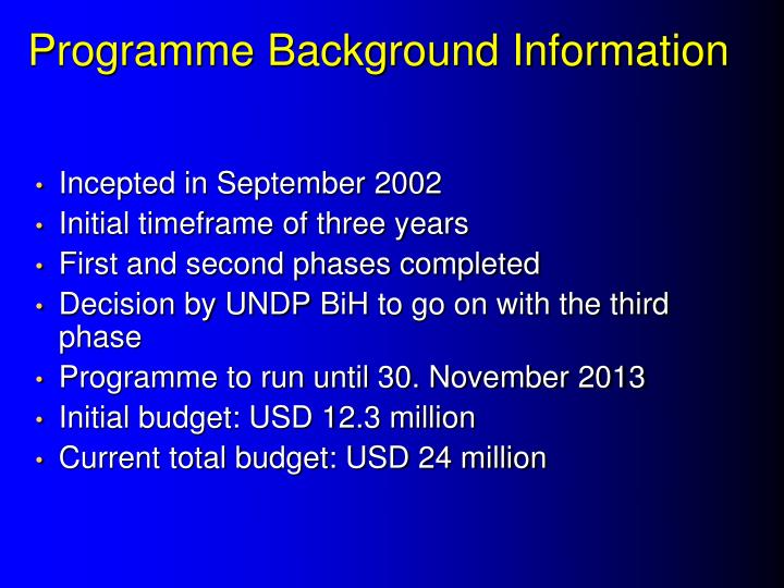 Programme Background Information