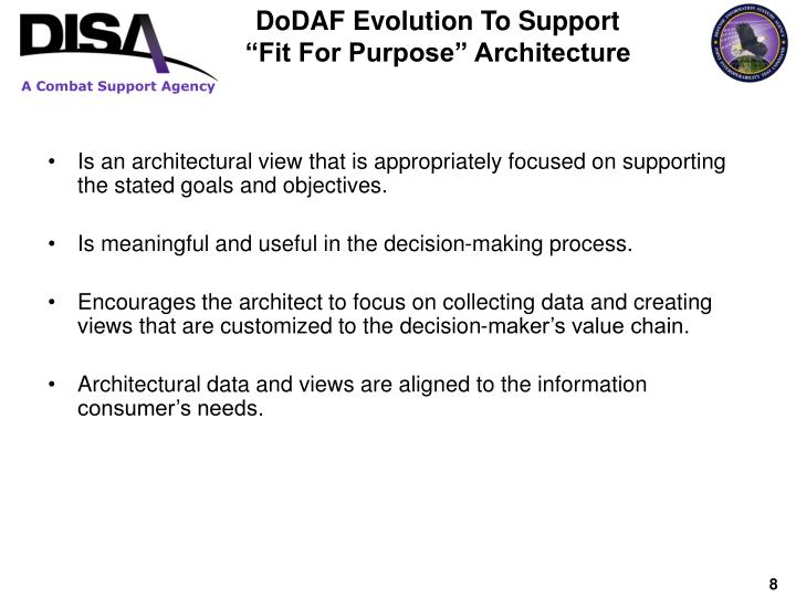 DoDAF Evolution To Support