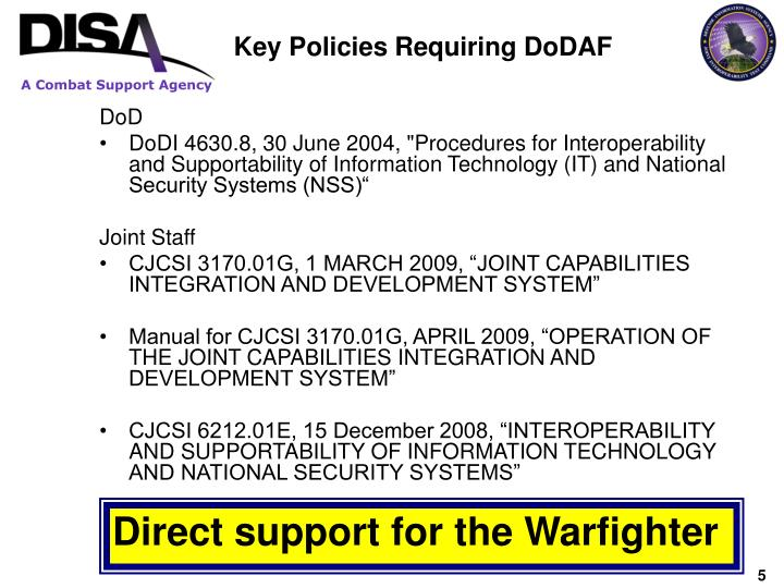 Key Policies Requiring DoDAF