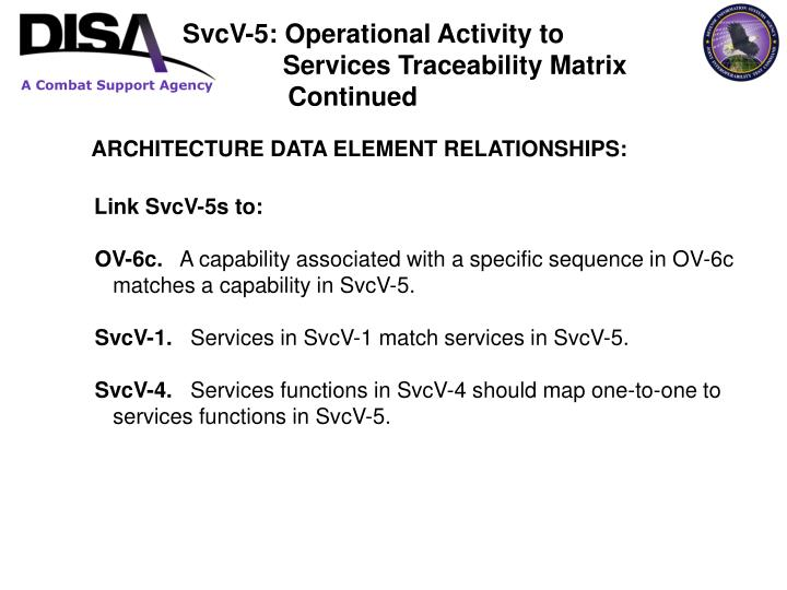 SvcV-5: Operational Activity to