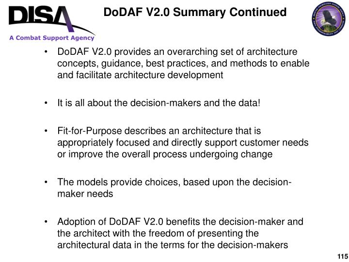 DoDAF V2.0 Summary Continued