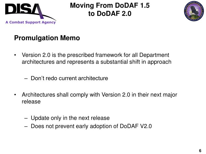 Moving From DoDAF 1.5