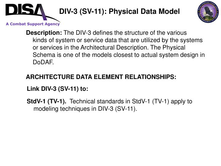 DIV-3 (SV-11): Physical Data Model