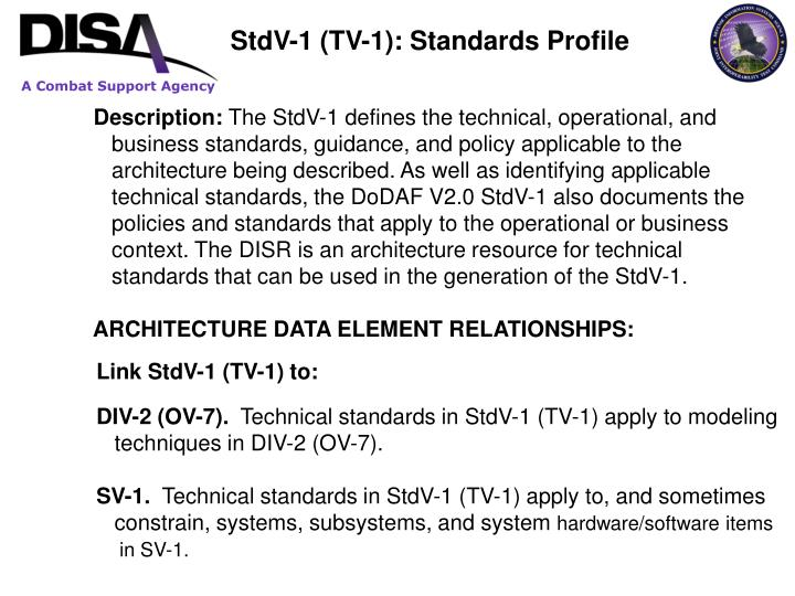 StdV-1 (TV-1): Standards Profile
