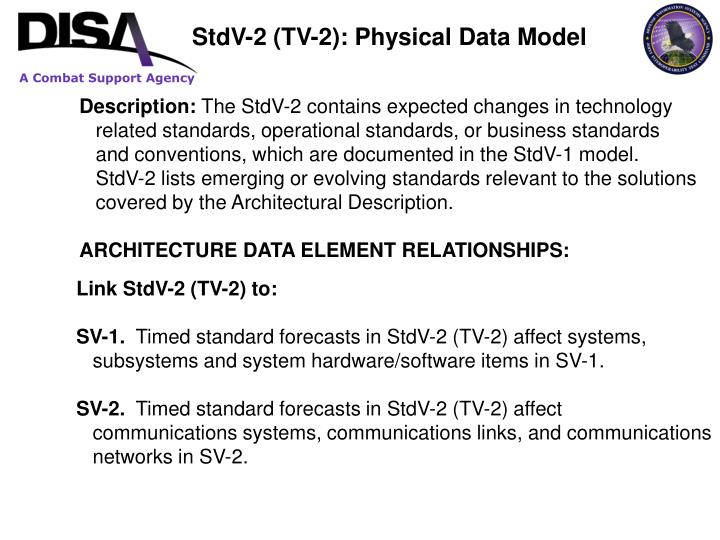 StdV-2 (TV-2): Physical Data Model