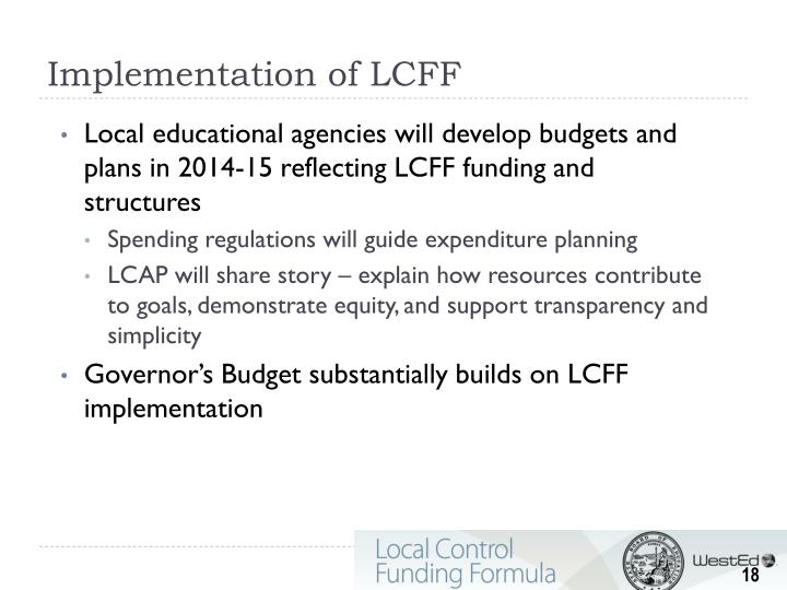 Implementation of LCFF