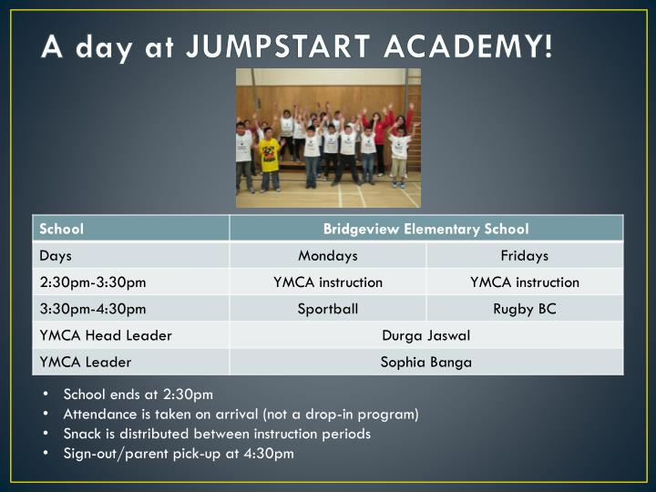 A day at JUMPSTART ACADEMY!