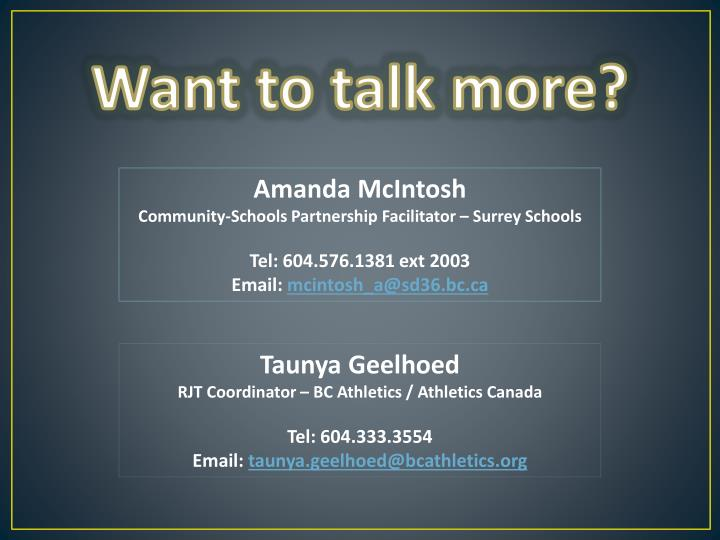 Want to talk more?