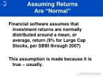 assuming returns are normal
