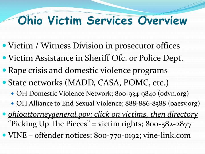 Ohio Victim Services Overview