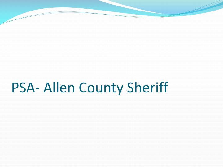 PSA- Allen County Sheriff