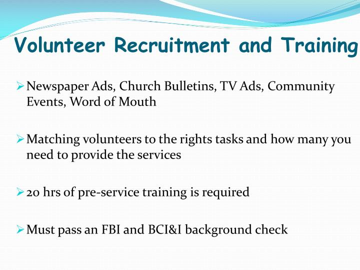 Volunteer Recruitment and Training