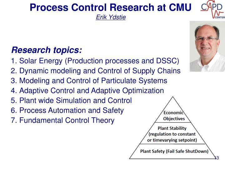 Process Control Research at CMU
