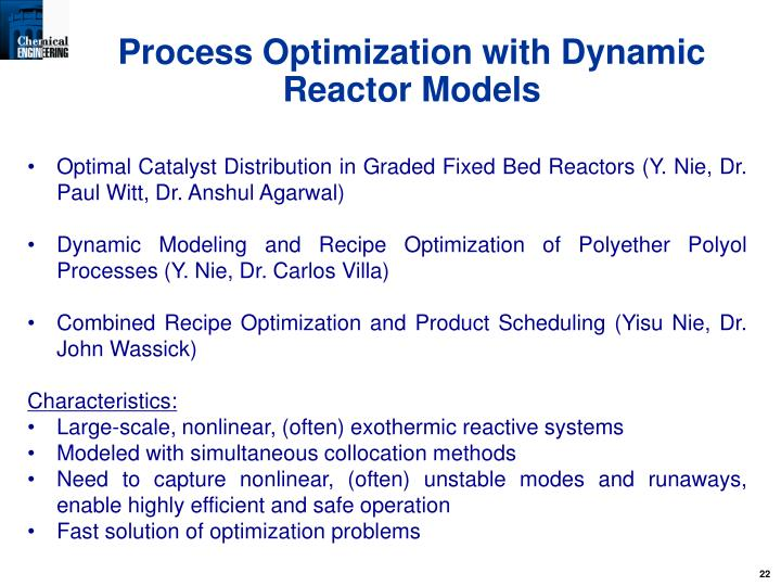 Process Optimization with Dynamic Reactor Models