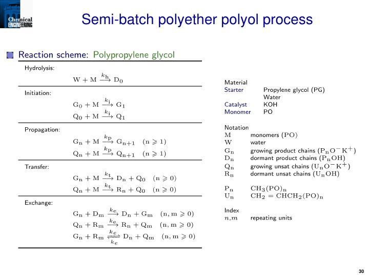 Semi-batch polyether polyol process