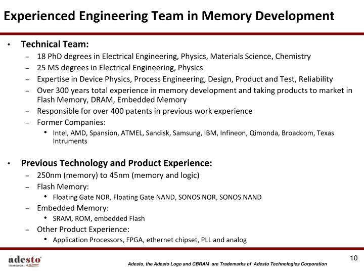Experienced Engineering Team in Memory Development