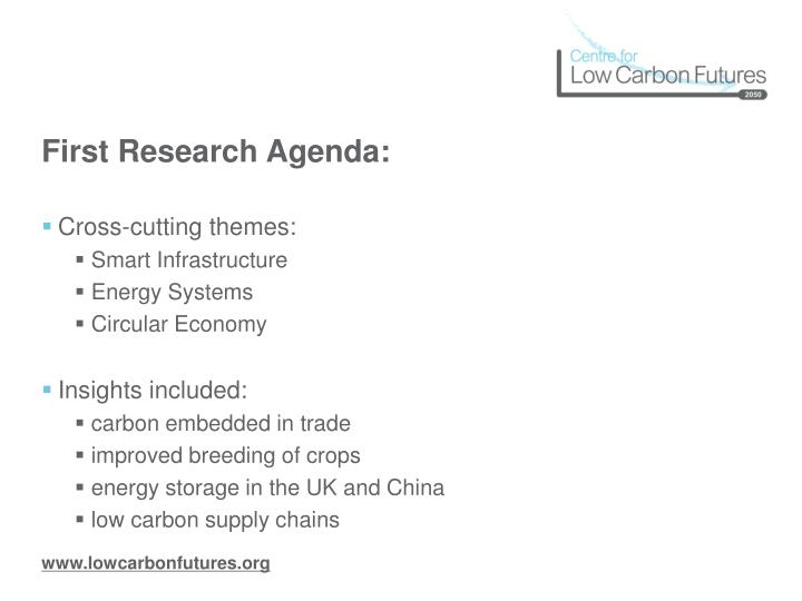 First research agenda