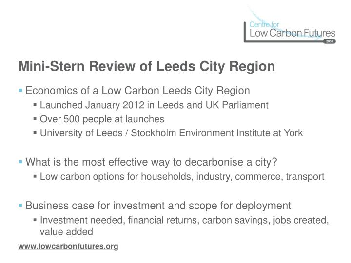 Mini-Stern Review of Leeds City Region