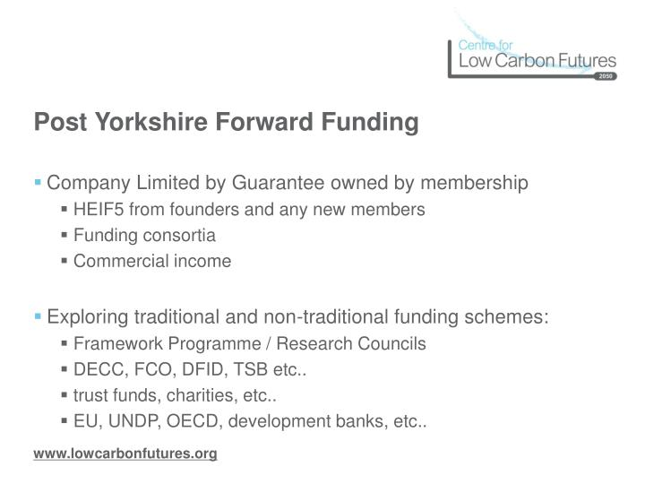 Post Yorkshire Forward Funding