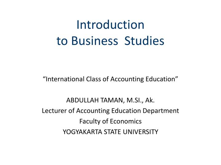 introduction to business study