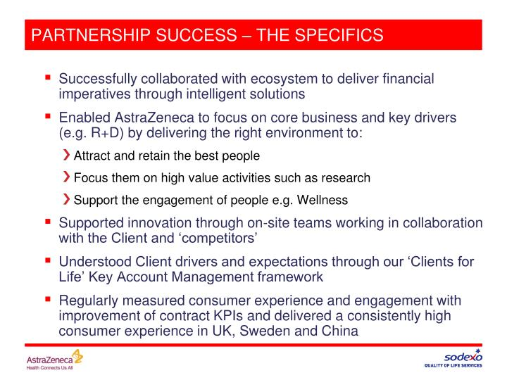 PARTNERSHIP SUCCESS – THE SPECIFICS