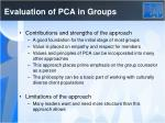evaluation of pca in groups
