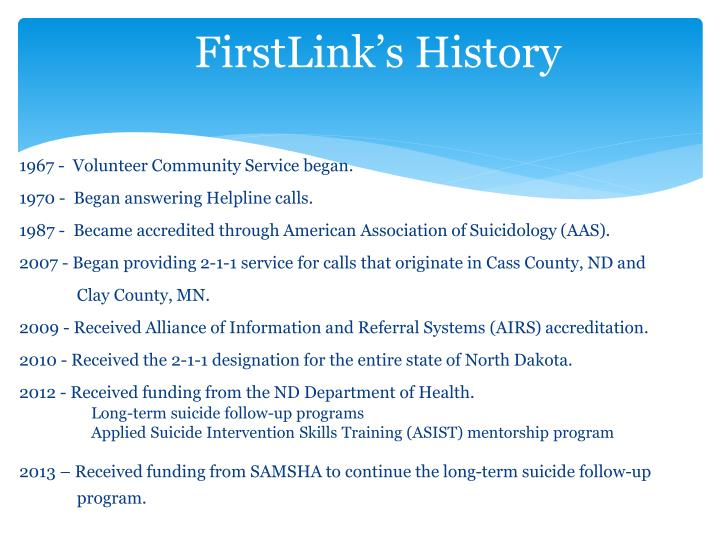 FirstLink's History