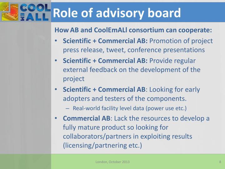 Role of advisory board