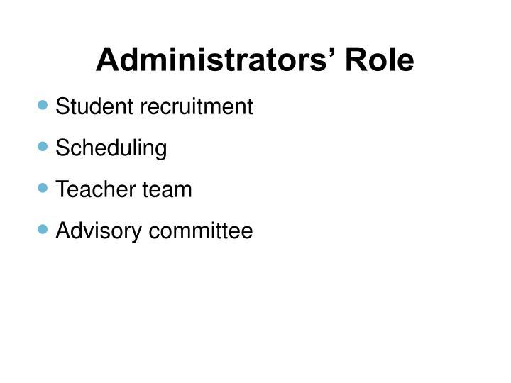 Administrators' Role