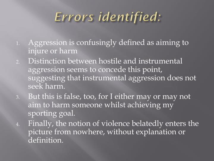 Errors identified: