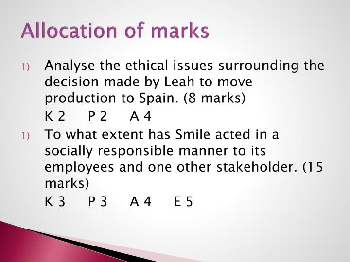 Allocation of marks