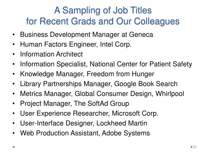 A Sampling of Job Titles