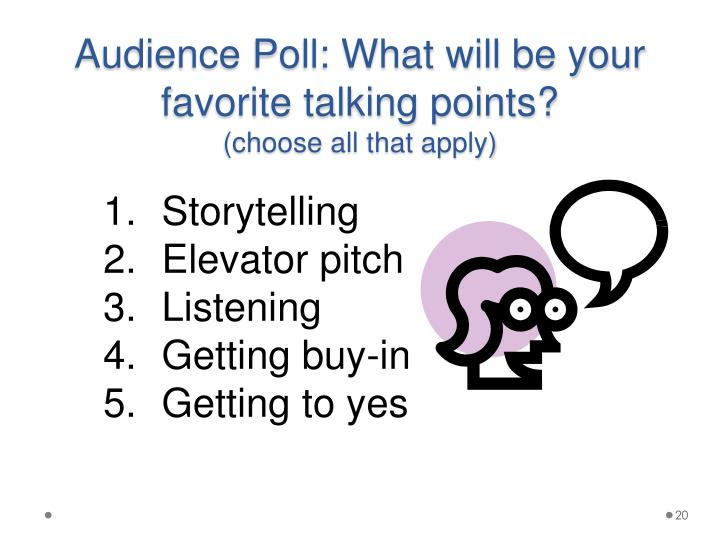 Audience Poll: What will be your favorite talking points?