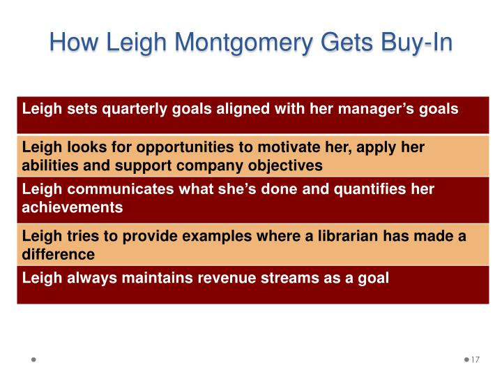 How Leigh Montgomery Gets Buy-In