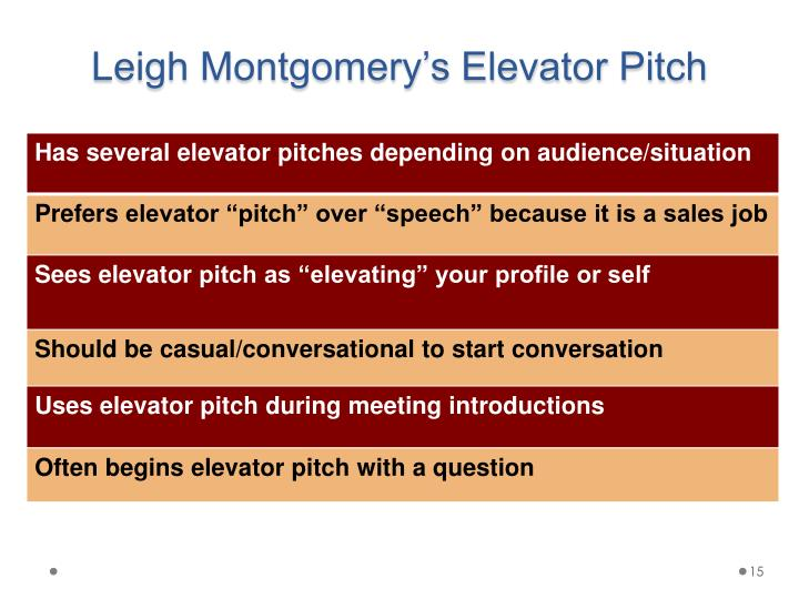 Leigh Montgomery's Elevator Pitch