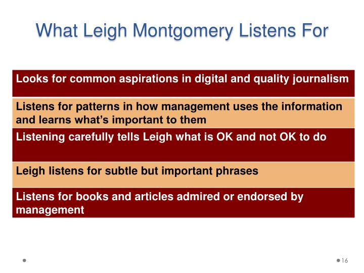 What Leigh Montgomery Listens For