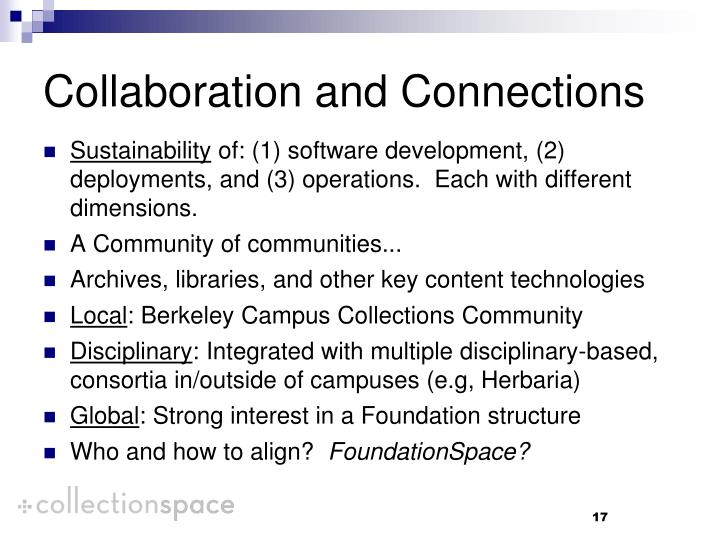 Collaboration and Connections