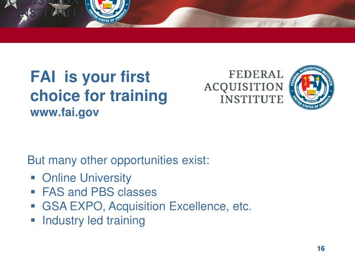 FAI  is your first choice for training