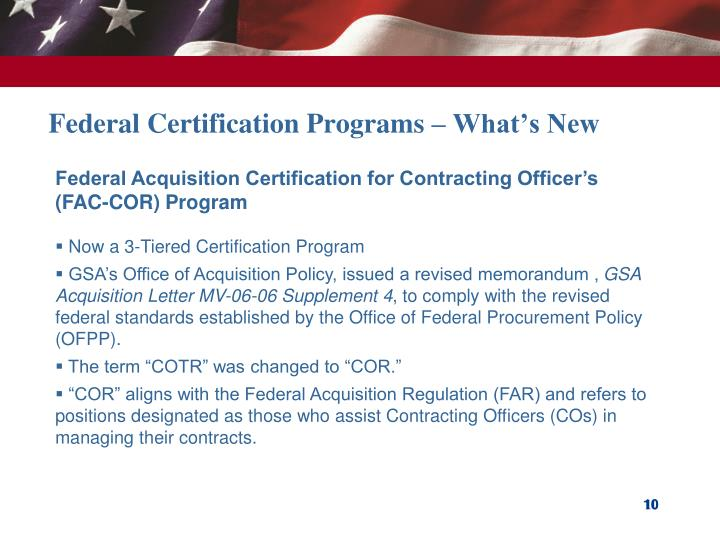 Federal Certification Programs – What's New