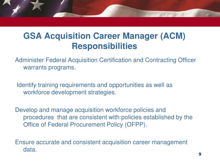 GSA Acquisition Career Manager (ACM) Responsibilities