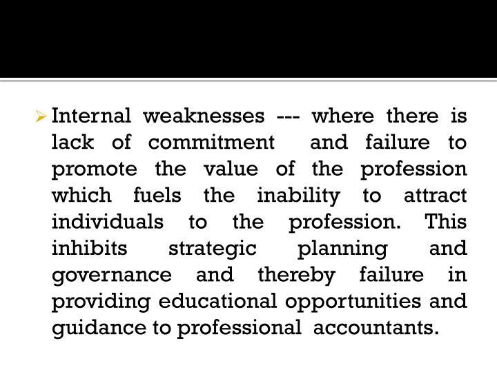 Internal weaknesses