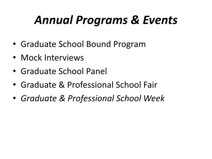 Annual Programs & Events