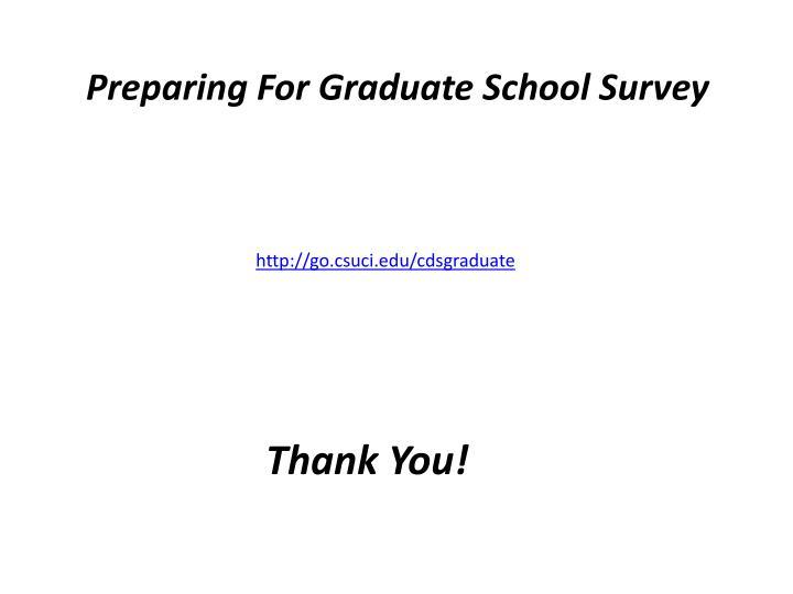 Preparing For Graduate School Survey