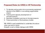 proposed roles for kirdi in vip partnership
