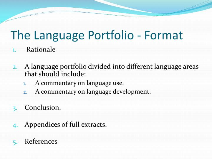 The Language Portfolio - Format