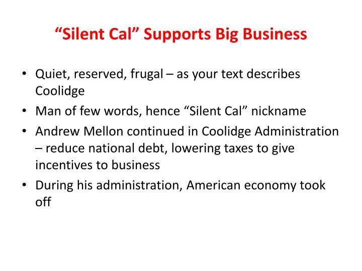 """""""Silent Cal"""" Supports Big Business"""