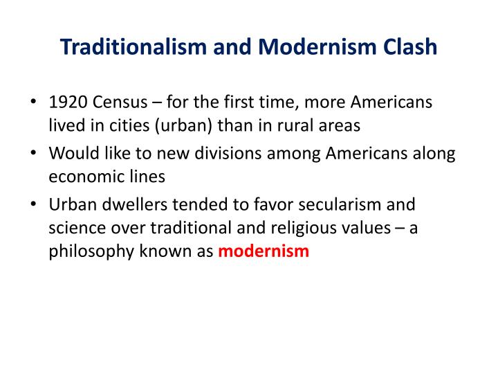 Traditionalism and Modernism Clash