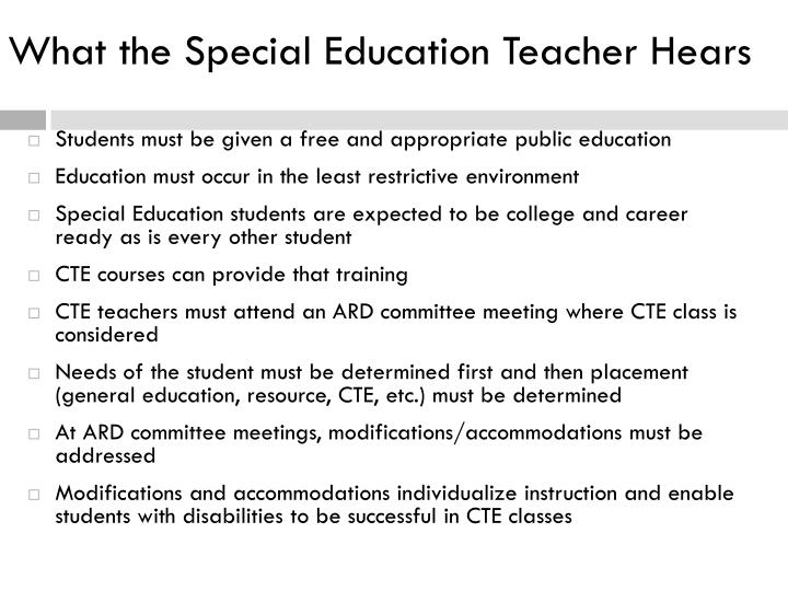 What the Special Education Teacher Hears